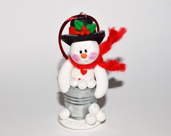 Snowman in a Pail of Snowballs Polymer Clay Christmas Ornament