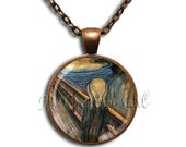 ON SALE - The Scream Glass Dome Pendant or with Chain Link Necklace  AP125