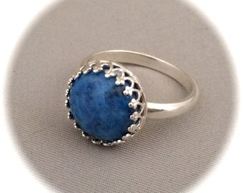 Denim Lapis Ring, Size 7.5, 12mm round stone, Blue, sterling silver setting