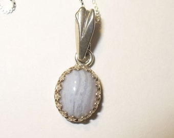 SALE!  Blue Lace Agate Pendant ~ Beautiful Natural Gemstone Cabochon In Solid Sterling Silver Bezel & Bail