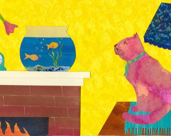 Mesmerized - Cat watching Fish Bowl - Original Collage from Hand Painted Papers