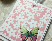 RESERVED for Lisa Flower and Wooden Butterflies Gift Tags Set of Six Love Notes Birthday Party Favors Shower Feminine Flowers Floral