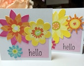 Floral Hello Gift Cards Set of Six Lunchbox Love Notes Handmade Flower Die Cuts Colorful Spring Garden Friendship Fresh Stamped Rubber Stamp