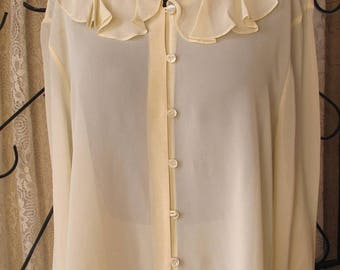 Vintage Laura Ashley Blouse XL Beige Feminine Rayon Button Up Excellent Condition