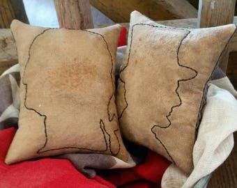 Primitive Americana Washington Lincoln mini Pillows.  WOW
