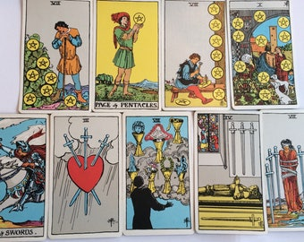 Rider Waite Tarot Card Lot from Vintage 1971 Deck Swords Pentacles Cups Esoteric Findings