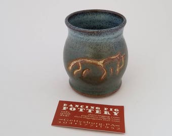 Mug with Uffington White Horse - Chalk Horse -Celtic Pottery - Handmade Ceramic - Coffee Tea Cup Mug - Green Blue Mug - 16oz Mug - Rustic