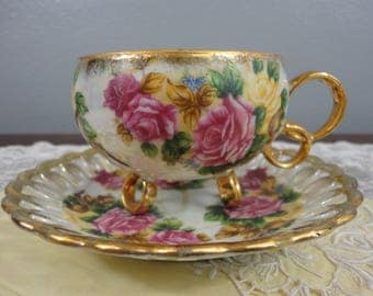 Sealy Tri Footed Cup with Reticulated Saucer - Pink & Yellow Rose Floral  Lusterware -  Royal Sealy China Japan