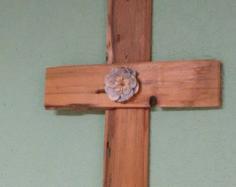 Rustic wood cross with flower Primitive
