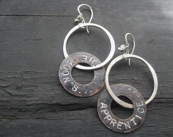 The Moon - Copper Poetry Earrings Hand Forged Sterling Silver Hoops Wildflower Ear Wires Jane Plain Adventure Talismans