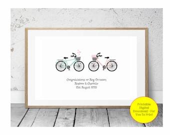 JPEG - Printable - Bikes - Bicycles - Cycles - Engagement - Anniversray - Wedding - Couple - Custom - DIY Print