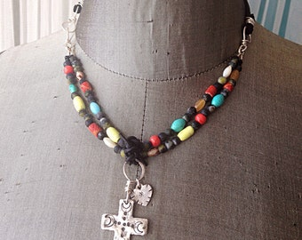 Cross Sterling Silver Multi Colored Multi Strand Colorful Necklace With Black Suede Leather Boho Choker