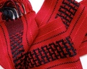 handwoven scarf in red and black