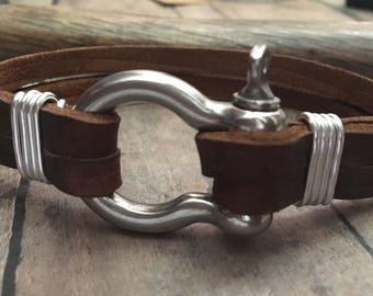 Anchor Shackle Bracelet, Men's Leather Bracelet, Anchor Clasp Bracelet, Omega Clasp Bracelet, Sailor Bracelet, Anchor Bracelet, Fishing