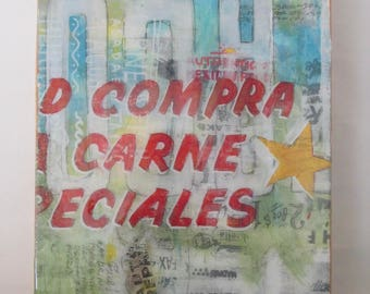 Carne Star - wall art decor, typography, art, design, signage, vintage, americana, resin, screenprint, food