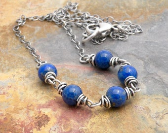 Lapis Lazuli Necklace for Women, Sterling Silver, Layering Necklace, Lapis Lazuli Jewelry, Cobalt Blue Gemstone, Wire Wrapped, #4758