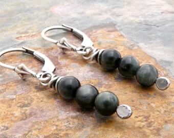 Hawk's Eye Quartz Earrings, Black Quartz Earrings, Gray Quartz Earrings, Sterling Silver Lever Back Ear Wires, Chatoyant Earrings, #4678