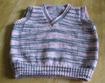 Size 6 Pink and Grey Variegated Knitted Vest