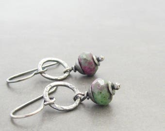 Reserved for Kat - ruby zoasite and silver dangle earrings, rustic oxidized earrings, metalwork and stone earrings