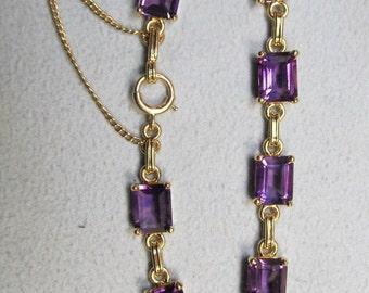 Art Deco 14Kt Gold and Amethyst Bracelet
