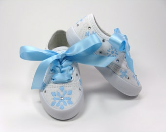 Girls Snowflake Shoes, Snow Birthday Party Sneakers, Hand Painted for Baby or Toddlers