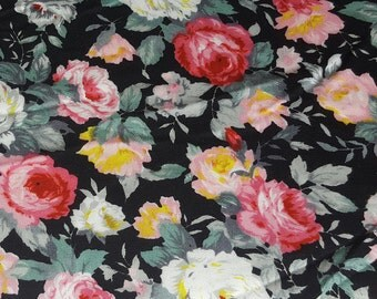 vintage 80s rayon fabric, featuring fabulous rose print in black, pink and white, 1 yard, 3 available priced PER YARD