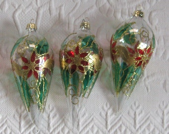 handblown glass ornaments . lot of 3. poinsettia glass ornament . hand painted . teardrop ornament
