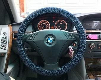 Denim Leopard Flocked Steering Wheel Cover