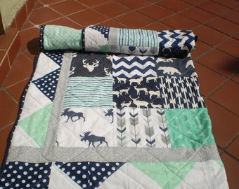 Baby Quilt, baby deer quilt, Baby Boy Bedding, Baby Girl Quilt, Woodland, rustic,mint,grey,navy, Bear, Moose, Arrow, Chevron-And Bullwinkle2