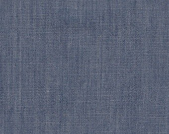 solid smooth denim afternoon sail, art gallery fabric, denim fabric, chambray fabric, by the yard, denim quilting cotton, lightweight denim