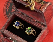 HAPPY HOLIDAYS SALE - 7th anniversary special sale - 2 swarovski crystal steampunk rings - wooden box included - Bermuda Blue and Vitrail