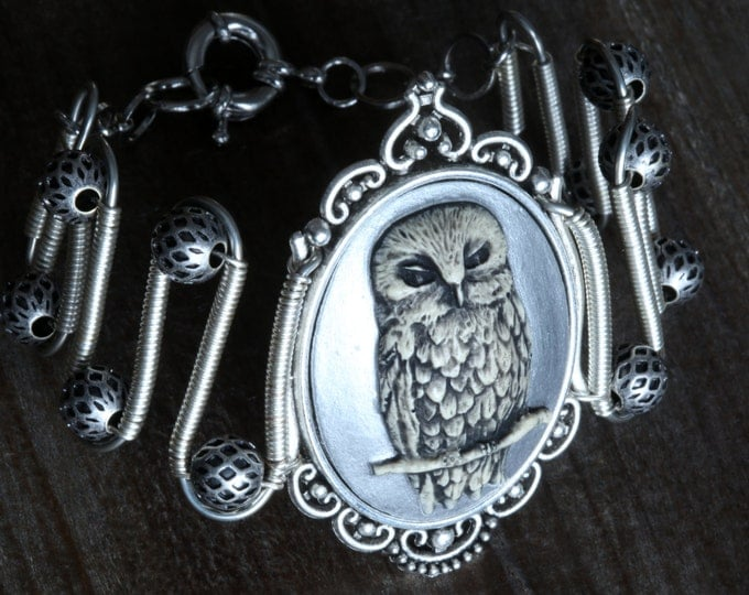 Owl bracelet, Silver Owl Cameo, Neo Victorian Steampunk style jewelry