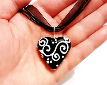 Lampworked Black and White Heart Necklace