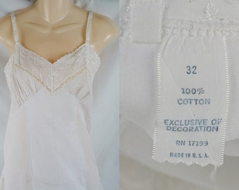 Vintage 1950s Slip White Cotton Eyelet Lace NOS SZ 32 B32 W32