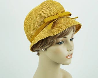 Vintage 1960s Hat Mustard Yellow Straw Bubble Crown Cloche by Amy Sz 21