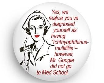 Funny Retro Nurse Gift Magnet or Pinback