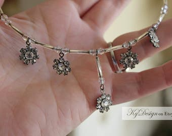 Rhinestone Flower and Bugle bead Choker