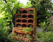 Ye Olde Hutch Left Out in the Miniature Garden, Who Did it? OOAK for Dollhouse Garden, Customized Weathered One Inch Scale, Not For Outdoors