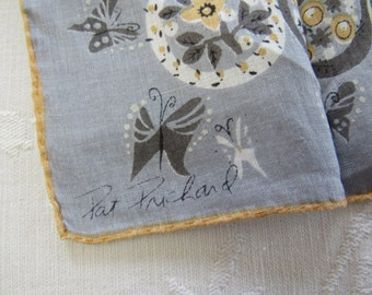 Vintage 1960s PAT PRICHARD Ladies Printed Linen Handkerchief BUTTERFLIES Medallions Feathers Gray Gold White Birthday Mothers Day Gift