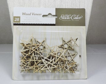 Die Cut Wood Veneer Stars Made by Studio Calico 28 pieces