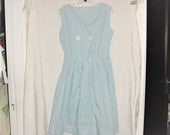 Vintage 50s Blue Gingham Check Poly Blend Dress Sleeveless Full Skirt
