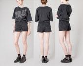 HIGH waist BLACK denim Shorts Jean 90s vintage Women summer / Size 7 / 29 waist / better Stay together