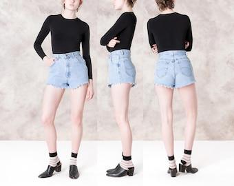 HIGH waist DENIM short JEAN 90s Lee vintage summer women Frayed hem shorts / Size 5 6 / Waist 27 / better Stay together