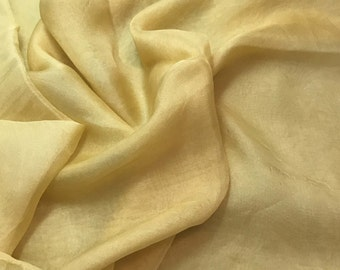 Hand Dyed GOLDEN YELLOW Soft Silk Organza Fabric - 1/3 yard remnant