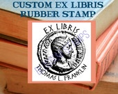 Custom Ex Libris Bookplate Rubber Stamp - Roman Coin - Maple Mounted by Blossom Stamps