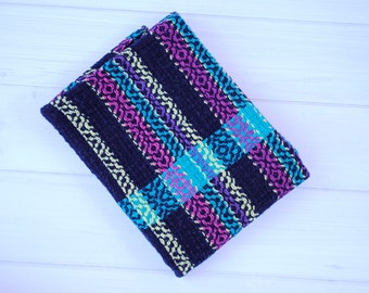 Hand woven kitchen towel, navy and turquoise detail