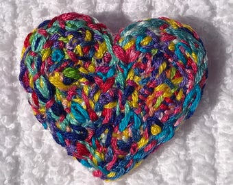 Freeform embroidery heart brooch bright floral brooch #172