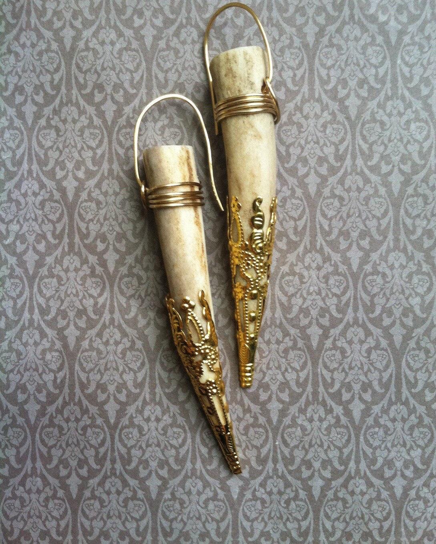 antler earrings dangle earrings gold earrings boho