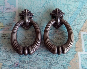 SALE! 2 large vintage style open brass metal pull handles