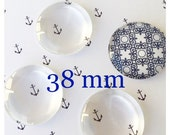 20 Clear 38mm Glass DOMES Domed  Bubble Cabochon Circles flat back Large Pendant Making
